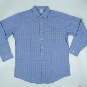 Blue Check Long Sleeve Slim Cotton Button Shirt